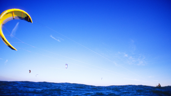 Male Kiteboarder at Leo Carrillo beach